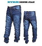 Motorradjeans XTRM Neu Motorrad KEVLAR gefüttert Aramid Jeans MOTORRAD HOSE Slim-Fit-Design Denim-jean, Blau - BLAU - W30-L (REG)