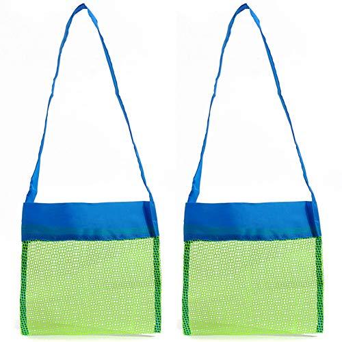 Limeo Netztasche für Sandspielzeug Strandtasche Aufbewahrung Netz Tasche Sandspielzeug Kinder Aufbewahrungsnetz Sandspielzeug Strand Strandspielzeug Tasche Beachbag Faltbar (24 * 24cm)