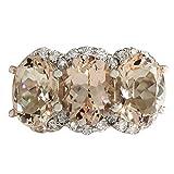 Anillo de oro blanco de 14 quilates con 3 piedras para mujer de 8,23 quilates, color rosa morganita y diamante