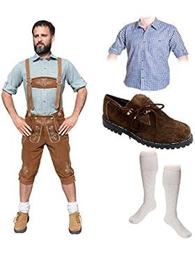 Herren Trachten A Set 5-teilig Trachten Lederhose HELLBRAUN 46-60 Trachtenhemd Schuhe Socken Oktoberfest