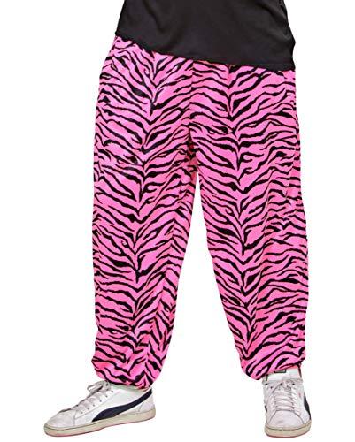 Horror-Shop 80ies Jogging Hose mit Pink Zebra Muster XL