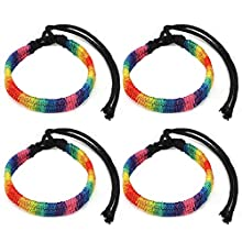 MWOOT Pack of 4 LGBT Gay Pride Bracelet Rainbow Wristband Friendship Charm Band Gay Pride Parade Accessory Adjustable Sizes