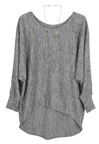 Emma & Giovanni - Pullover / Sweatshirt Oversize- Damen (S/M, Grau)