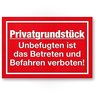 Privatgrundstück - Unbefugten ist das Betreten und Befahren verboten Schild (rot, 30 x 20cm), Hinweisschild für Grundstück, Verbotsschild - Betreten verboten, Warnhinweis widerrechtlich befahren
