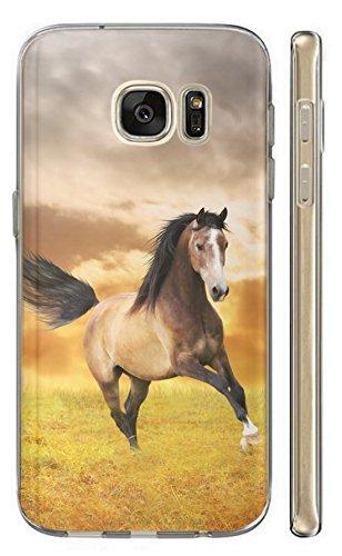 KunaMobile Hülle für Samsung Galaxy S7 TPU Handyhülle Samsung Galaxy S7 Silikon Hülle Softcase Cover Schutzhülle Motiv (1395 Pferd Hengst Braun Schwarz auf Wiese)