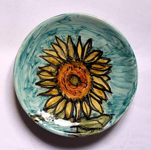 Die Sonnenblume Blume-handgefertigte Keramikplatte, cm 12 hoch cm 2-Made in Italien, Toskana, Lucca. Erstellt von Davide Pacini.