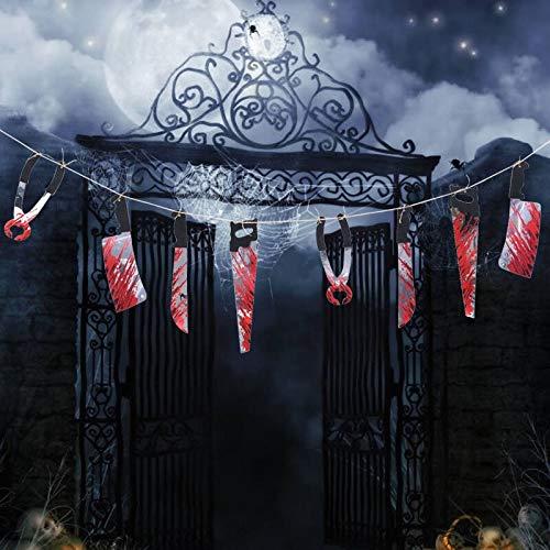 Frauen Horror Stadt Kostüm Party - Horror gruselige Halloween-Party Haunted House Hängegirlande Anhänger Banner Halloween Dekoration Gruselige blutige Waffe Girlande Rep