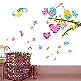 QIANGTIE Liebes-Baum auf dem Paar-Vogel-Kinderzimmer-Hintergrund-Wand-Aufkleber-Karikatur dreidimensionaler Baumast-Vogelkindergarten-Dekorations-Aufkleber