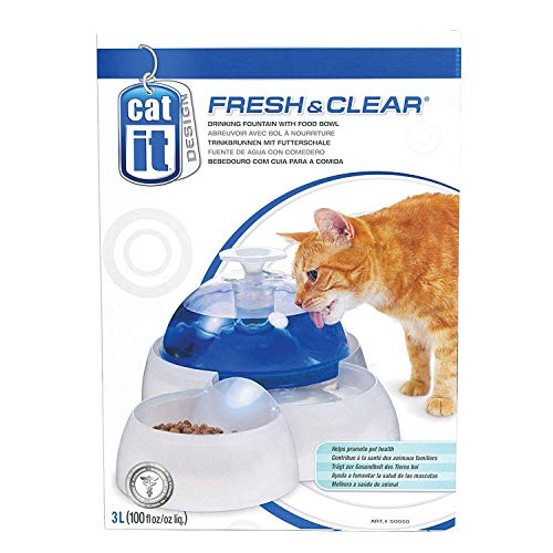 """Catit Trinkbrunnen \""""Fresh & Clear\"""" 3l für Katzen und kleine Hunde mit Futterschale"""