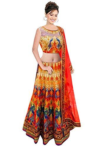 Super Deal Woman\'s Multicolor Tafetta Silk Anarkali Semi-stitched Lehenga Choli (Indian Traditional Ghaghra Choli L5060)