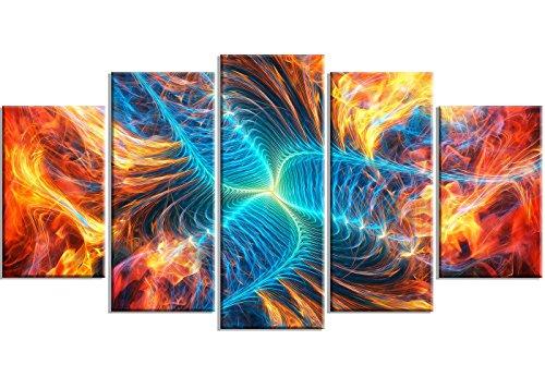 Art-design Designart MT3071 Wanddekoration, Turbine, Metall, Orange/Blau Modern 32'' Hx60'' Wx1'' D 5PD