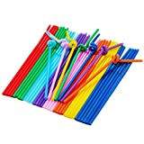 Luckiests 100Pcs plastica Multicolore Extra Lungo Flessibile Bere Bending Cannucce