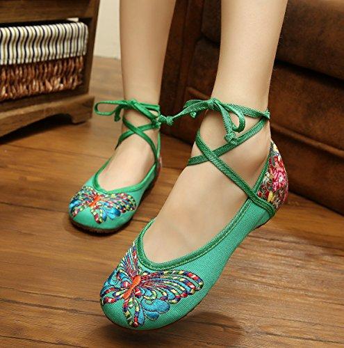 &hua Gestickte Schuhe, Sehnensohle, ethnischer Stil, Femaleshoes, Mode, bequem green. colour