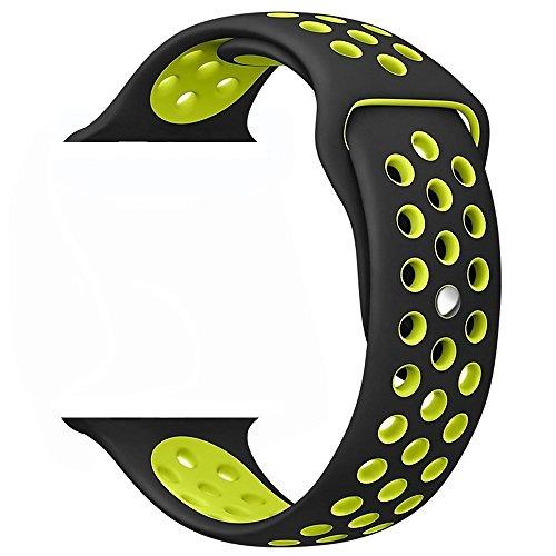 ZRO Smart Watch Correa, Silicona Suave Reemplazo de Sport Band para Apple iWatch Serie 3/ Serie 2/ Serie 1 42mm M/L, Black/Volt