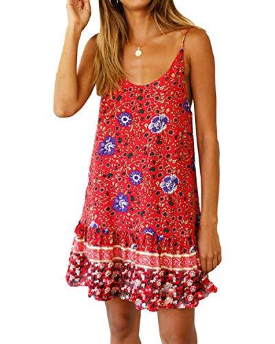 Kidsform Damen Strandkleid Boho Tunika Sommerkleid V-Ausschnitt Blumenkleid Lose T-Shirt Kleid Floral Minikleid Rot L -