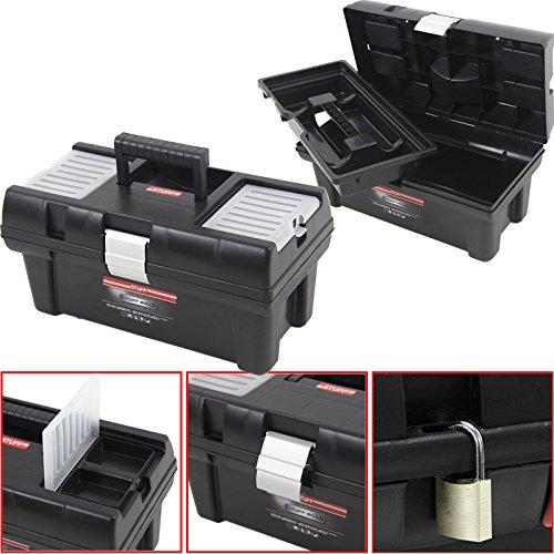 """Kunststoff Werkzeugkoffer STUFF Semi Profi Alu 16"""", 41x22cm Kasten Werzeugkiste Sortimentskasten Werkzeugkasten Anglerkoffer"""