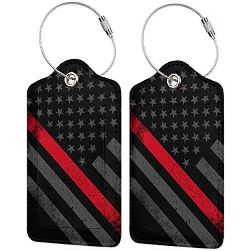 Thin Red Line Flag Firefighter Leather Travel Luggage Tag Suitcase ID Tags Baggage Bag Tag Labels 2 PCS 00df6795
