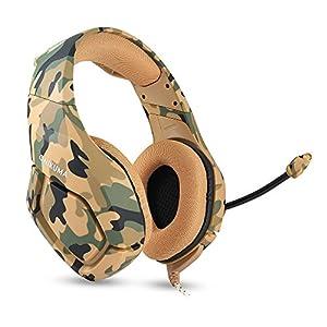 docooler onikuma K1Sound Stereo Gaming-Kopfhörer 3,5mm mit Mikrofon mit Rauschunterdrückung für PC Neue Xbox Laptop DS PSP Camouflage Gelb