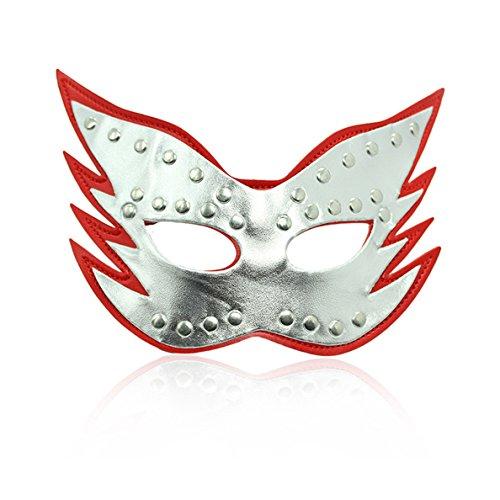 rotik Cosplay SM Bondage Fesseln Sex Rollenspiel Plüsch Katzengesicht mit Nieten Masken Augenbinden für Erwachsene Einstellbar (Silber-Rot) (Silber-maskerade-masken Für Frauen)