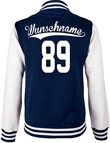 EZYshirt® Kinder College Jacke mit Wunschnamen und Wunschnummer Brannon (Einfache Kostüm Für College Kids)