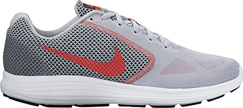 Nike Revolution 3, Running homme Gris (Wolf Grey / Truck Red / Black / White)
