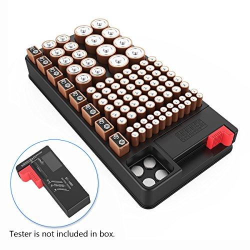 Batteriebox, ABILITH Batterie Batteriehalter Akkubox Batterie Aufbewahrung Lagerung bis 102 Akkus für AA, AAA, D, C, 9V, Knopfzellen