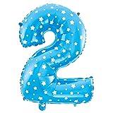 Cotigo-Globo número Blanco Estrella cumpleaños de 70cm azul 2