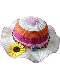 Leisial Cappello di paglia per bambini Cappello estivo Cappello da spiaggia  Cappello da sole Cappello del fiore di… 93e9178f0465
