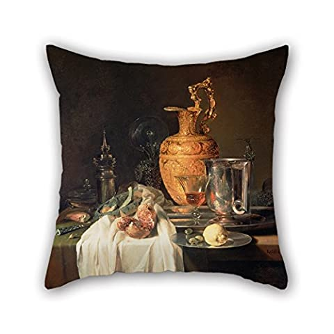 Artistdecor 18 X 18 Inches / 45 By 45 Cm Oil Painting Kalf, Willem - Still Life With Ewer, Vessels And Pomegranate Pillowcover ,each Side Ornament And Gift To Son,car,home Theater,home