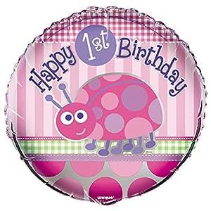 "Ballon aluminium Coccinelle 1er anniversaire fille ""Happy 1st Birthday"" 46cm"