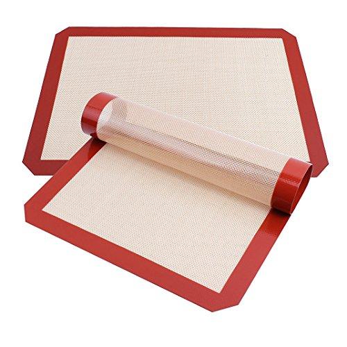 Forro de silicona para hornear Forro de silicona para hornear cacerolas y Rolling - Macaron / Pastelería / Cookie / Bun / Pan Hacer Hoja de Horno Seguro BPA Libre 30x20cm 1 rojo pieza S tamaño