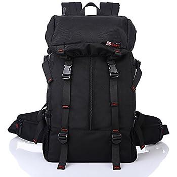 Mochila de Senderismo Negro Senderismo Mochila 50L de gran capacidad de mochila de camping senderismo bolsa de deportes al aire libre viajar bolsa bolsa de ...