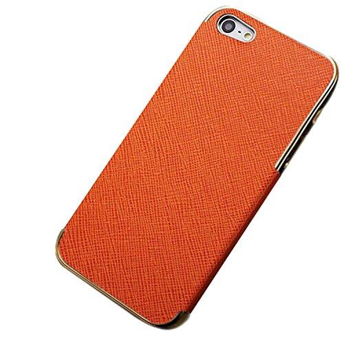 Luxury Leder Tasche Case Etui Schale Rückschale für iPhone 5/5G/4S/4 (für iPhone 4G/4S, Goldig/Schwarz) Goldig/Orange