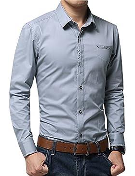 Uomo Camicia Casuale Maniche Lunghe Con Pelliccia Foderato Slim Fit Spessore Caldo Shirt Tops Grigio L