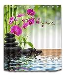 LB Spa Frühling Zen Duschvorhang Bambus Orchidee Schwarz Stein Bad Vorhang 150x180cm Wasserdicht Polyester Stoff Wohnaccessoires Set mit Haken