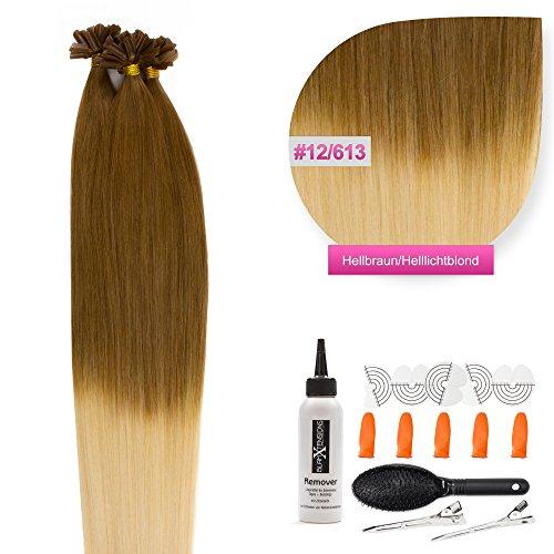 Keratin Bonding Hair Extensions 100% Remy Echthaar Haarverlängerung (#12/613 hellbraun helllichtblond ombre - 150 Strähnen 1 g - 60 cm) U-Tip Extention Remy Qualität by Glamxtensions -
