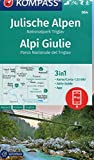 KOMPASS Wanderkarte Julische Alpen, Nationalpark Triglav, Alpi Giulie: 3in1 Wanderkarte 1:25000 mit Aktiv Guide inklusive Karte zur offline Verwendung ... Langlaufen. (KOMPASS-Wanderkarten, Band 64) -
