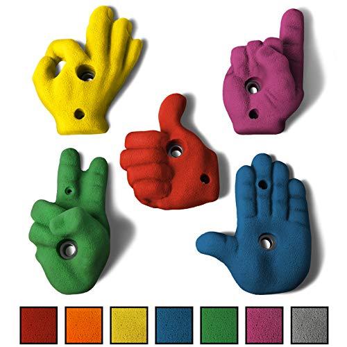 ALPIDEX 5 XL Klettergriffe im Set verschieden geformte Handzeichen, Leisten mit Charme in vielen Farben, jeder Klettergriff ist als Hand geformt, Farbe:Mixed Colour