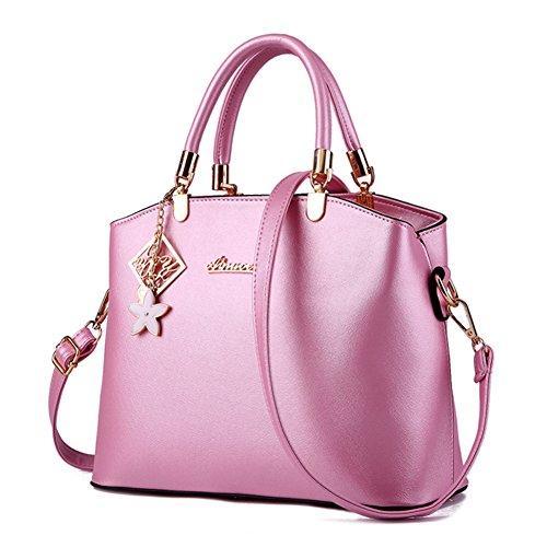 fanhappygo Fashion Retro Leder gesteppte Laser Abendtaschen Damen Schulterbeutel Umhängetaschen Pink