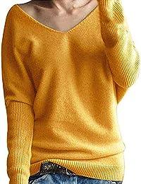 VJGOAL Mujer Otoño e Invierno Moda Casual Batwing Manga Cuello En V Color sólido Suéter de Punto Suave y cómodo Tops Blusa
