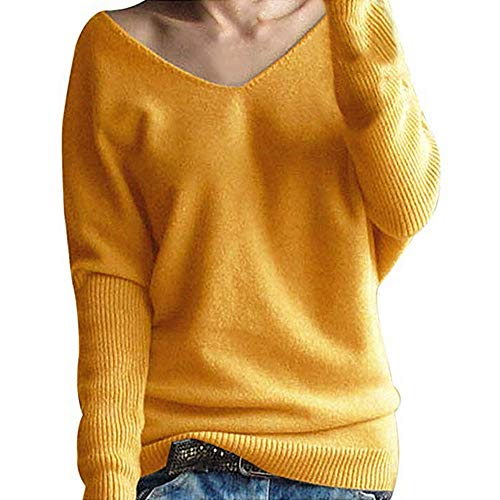 (MIRRAY Damen Acryl Sweatshirt Winter Fledermausärmel Solide Strickpullover Tops Bluse Gelb Grün Braun Rot)