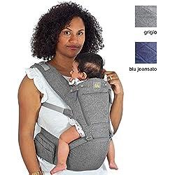 Flok - Porte-bébé Ergonomique 0 36 mois avec siège et capuche amovibles. Évolutionnaire, ajustable et respirant. Multiposition, devant, derrière et devant la rue (Gris)