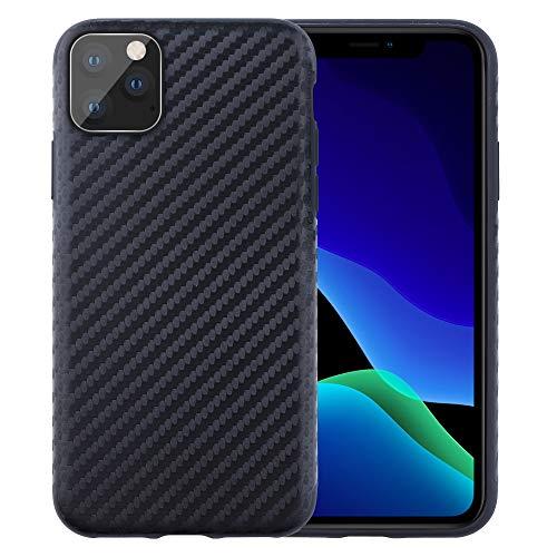 Arrivly Carbonfaser Hülle für Apple iPhone 11 Pro Max (6,5 Zoll) Schutzhülle Flexibles Slim Case Schwarz Schutz Silikon Kratzfest Kohlefaser Handyhülle Bumper Cover Carbon Optik (iPhone 11 Pro Max)