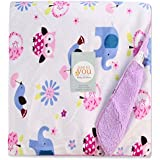 Baby Bucket Double Layer Velvet Fleece Newborn Printed 125cm X 155cm Size Baby Blanket (WH+PRPL)