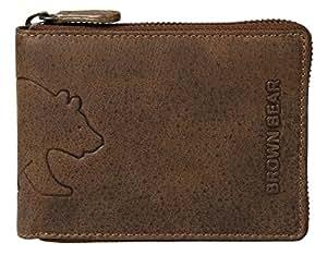 Brown Bear Geldbörse Leder Braun Vintage Reißverschluss hochwertig Herren Portemonnaie Damen Geldbeutel Männer Portmonee Frauen Portmonaise