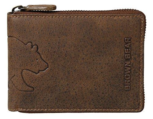 Brown Bear Geldbörse Leder Braun Vintage Reißverschluss hochwertig Herren Portemonnaie Damen Geldbeutel Männer Portmonee Frauen Portmonaise (Zip-geldbörse)