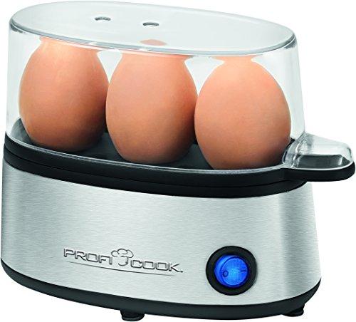 ProfiCook PC-EK 1124 Eierkocher für bis zu 3 Eier, Edelstahl, Messbecher mit Eipicker