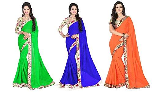 Aashi Saree Exclusive Pack Of 3 Plain Chiffon Lacy Border Sarees (Light Green