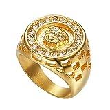 J-Z Hombre Egipto Faraón Retro Diamante Titanio Acero Anillos, Oro, 11
