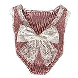 Neugeborenen Babyfotografie Props Kostüm Jungen Mädchen Baby Fotografieren Fotoshooting Set Requisiten Accessoire Weste Bodysuits (Pink)